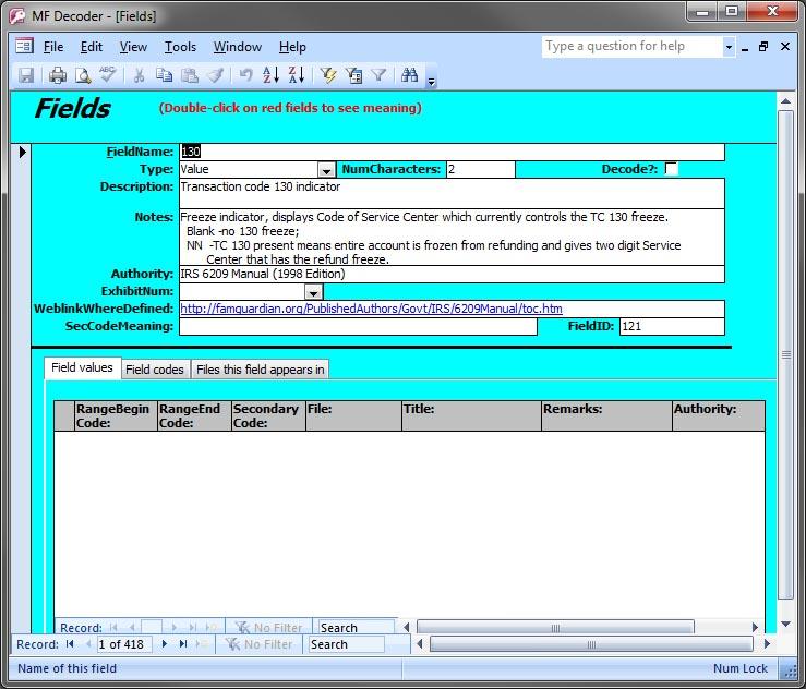 Master File (MF) Decoder